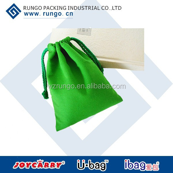 Green durable fashion canvas cotton tote bag/drawstring bag
