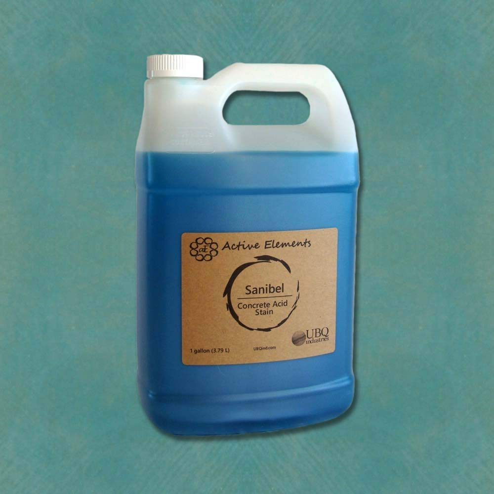 Concrete Acid Stain - Stain for Coloring Concrete - Sanibel (Light Blue Color) - 1 Gallon