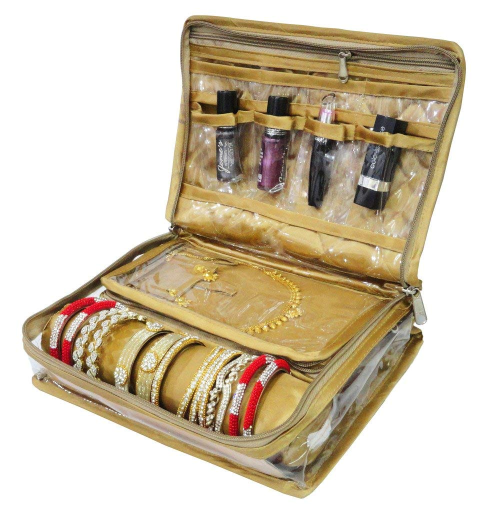 ATORAKUSHON Locker Jewellery Kit/Jewellery Box/Wardrobe Organiser/Regular Make Up Kit/Wedding Collection Gift In Satin Makeup Vanity Box  (Gold)