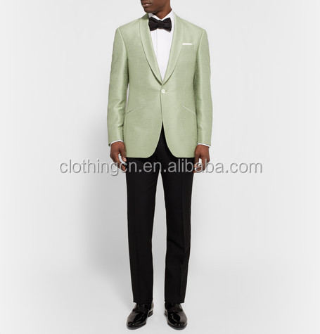 Man Tuxedo light green silk fabric elegant suits