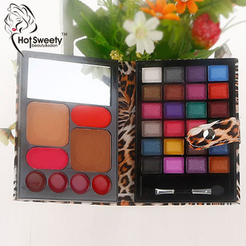 2016 manufacturers of cosmetic products eyeshadow palette+lipgloss+compact powder makeup sets professional tiger box