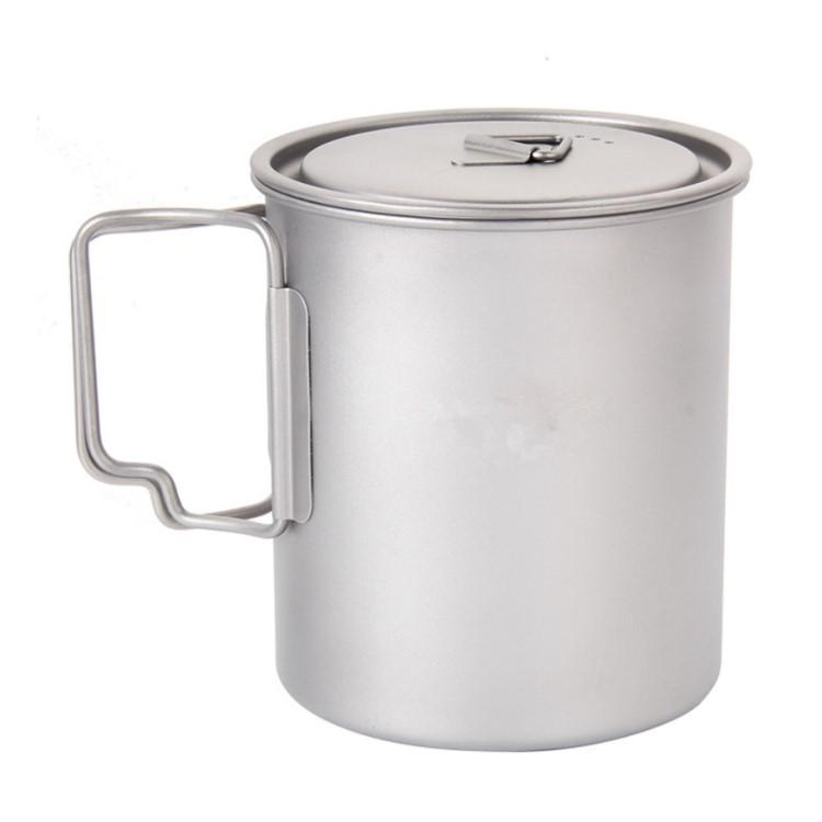Camping Mug Titanium Pot Folding Handle 400ml Pure Titanium Mugs with Lid фото
