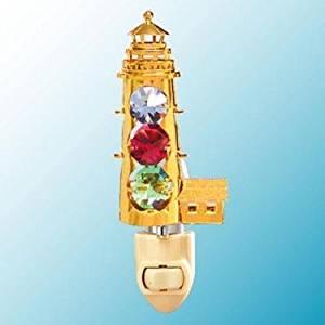 24k Gold Lighthouse Night Light - Multicolored Swarovski Crystal