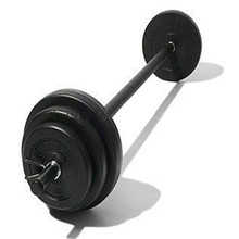 Adjustable black painted barbell for weight lifting