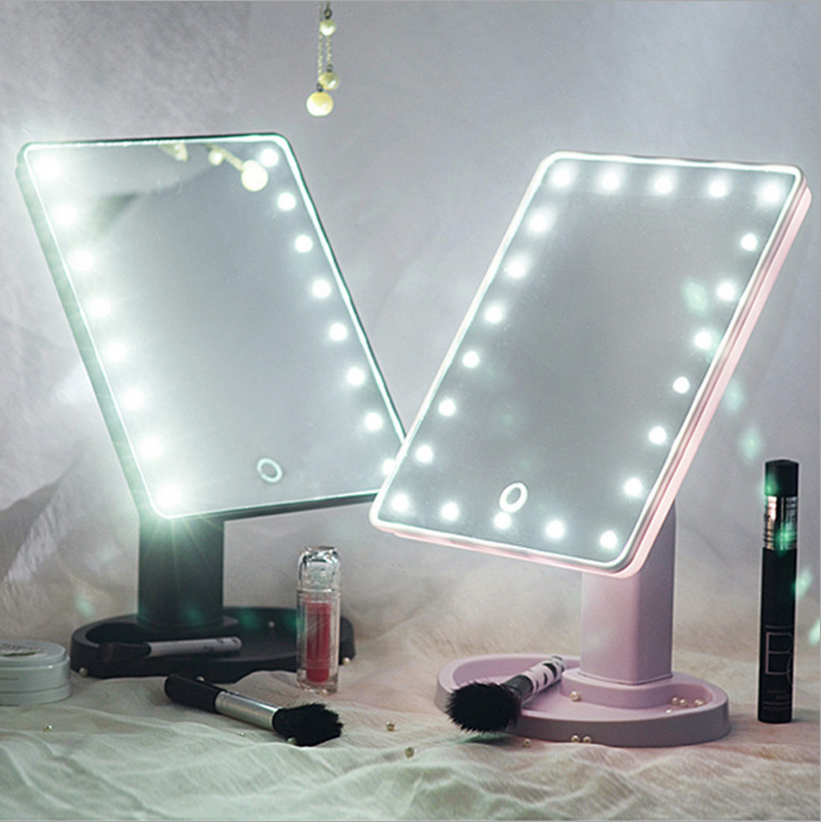 Wholesale Custom Foldable LED Makeup Mirror Led Vanity Mirror Private Label 3 Colors Available Rechargeable Square Led Mirror