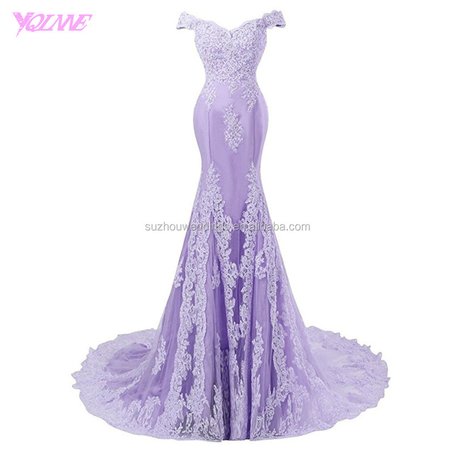 Yqlanbridal Real Photos Off the Shoulder Prom Dresses Long Mermaid Formal Party Dress Lavender Lace Tulle