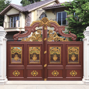 HS-LH002 stainless steel sliding double door temple gate design