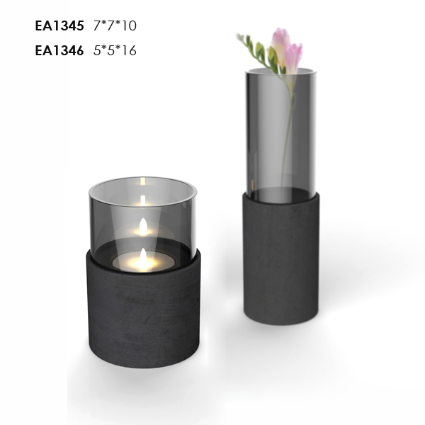 High quality black candle jars wholesale, glass candle jars with concrete base