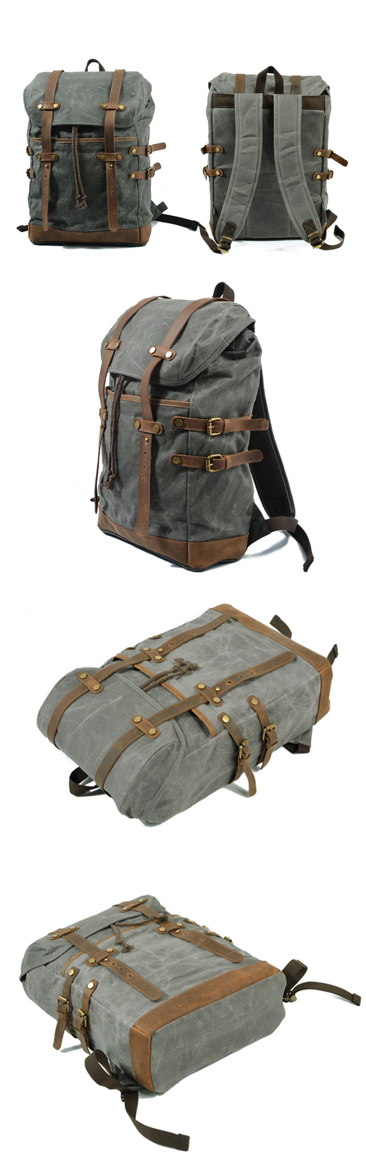 2018 New design waxed retro canvas waterproof causal stylish rucksack bag backpack back pack leather trim