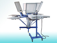 Screen printing manual rotary textile press