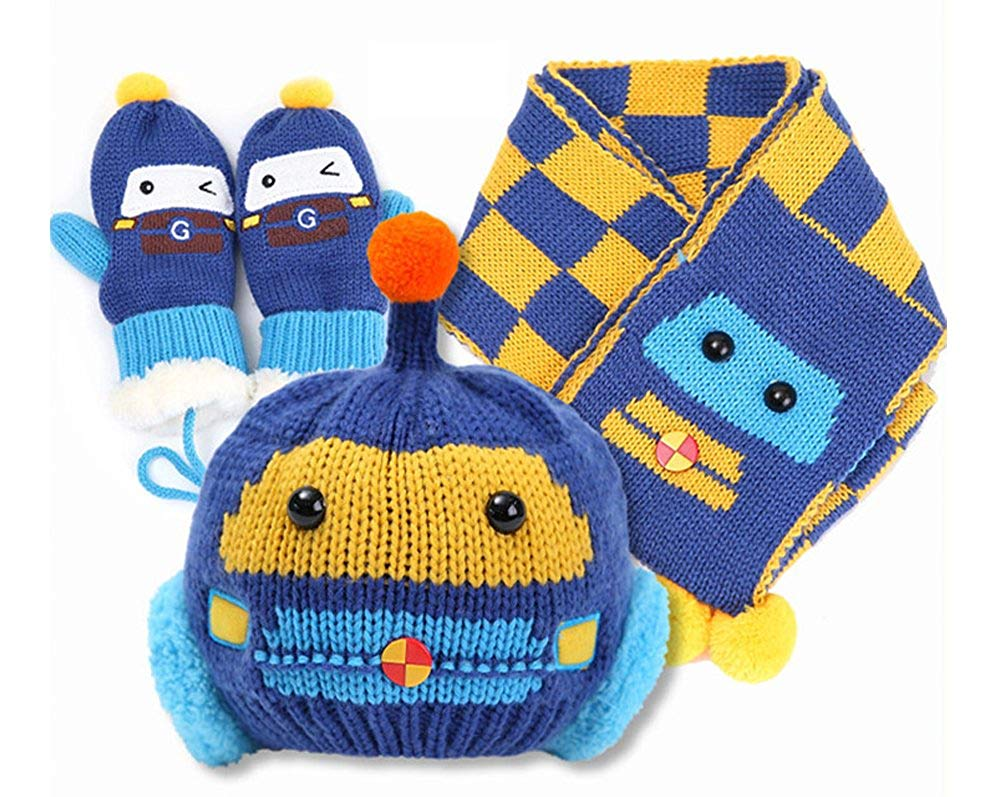 c8920337beb Get Quotations · Knitted Newborn Cute Baby Girl   Boy Hat and Mittens  Gloves Scarves Set 3