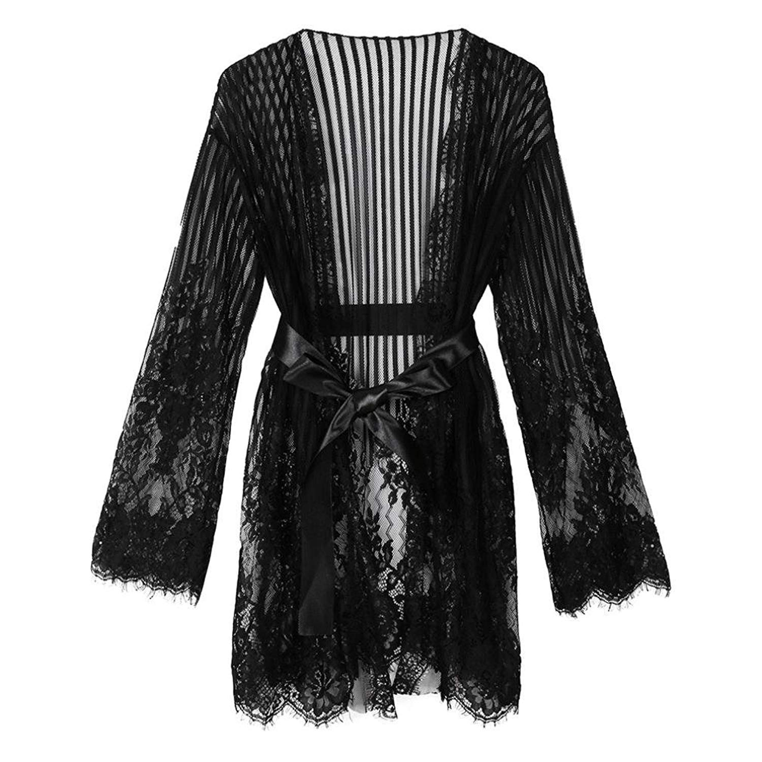 bfd5b797439 Get Quotations · Cywulin Women s Sexy Plus Size Lace Kimono Robe Floral  Babydoll Long Sleeve Lingerie Mesh Nightgown Sheer
