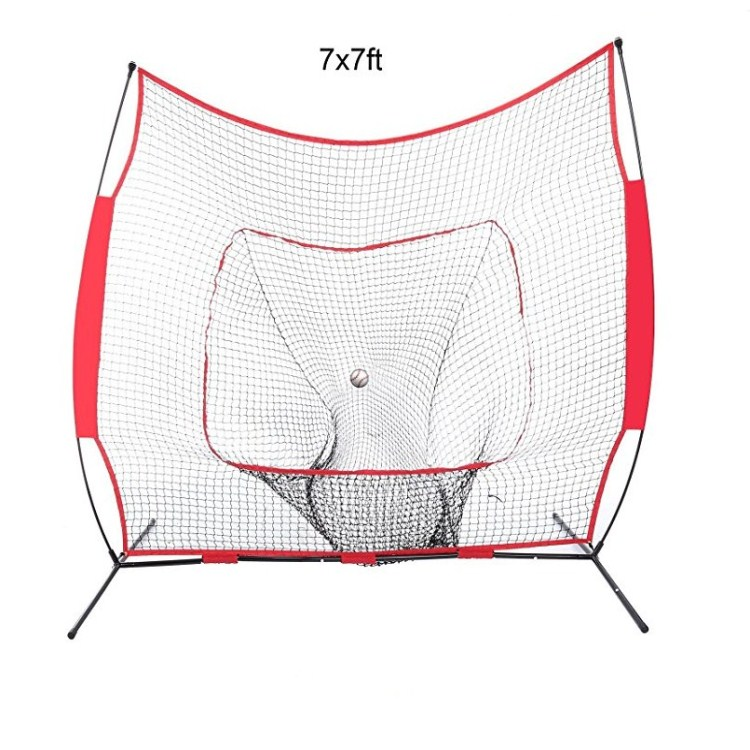 Foldable Baseball Softball Practice Net for Hitting Pitching with Bow Gate, Red/black
