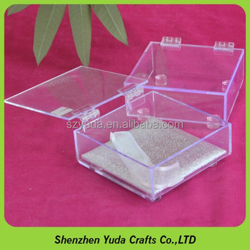 Delicate Acrylic Small Storage Box Plexiglass Container Cases With Hinge Lid
