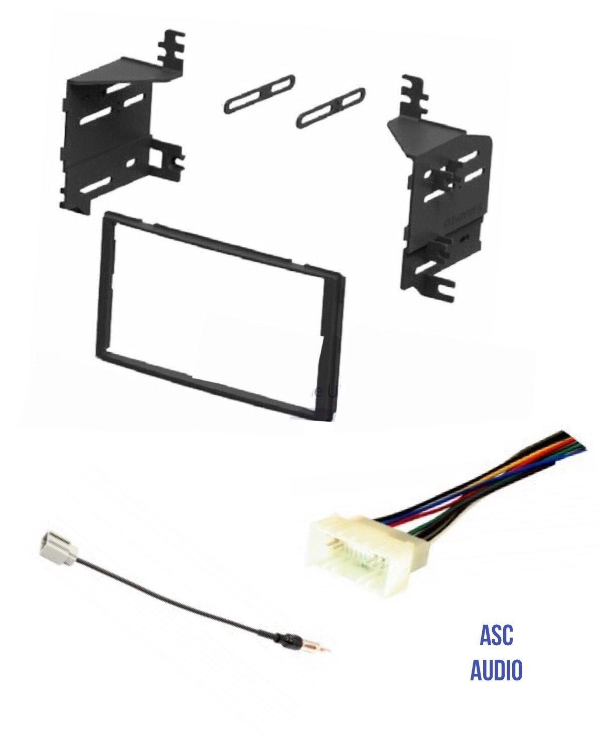 ASC Car Stereo Radio Install Dash Kit, Wire Harness, and Antenna Adapter for installing an Aftermarket Double Din Radio for 2009 2010 Kia Sportage