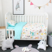 Custom Designer 100% Cotton Organic Applique New Born Boy Girl Adult Baby Crib Nursery Cot Bedding Set With Zipper