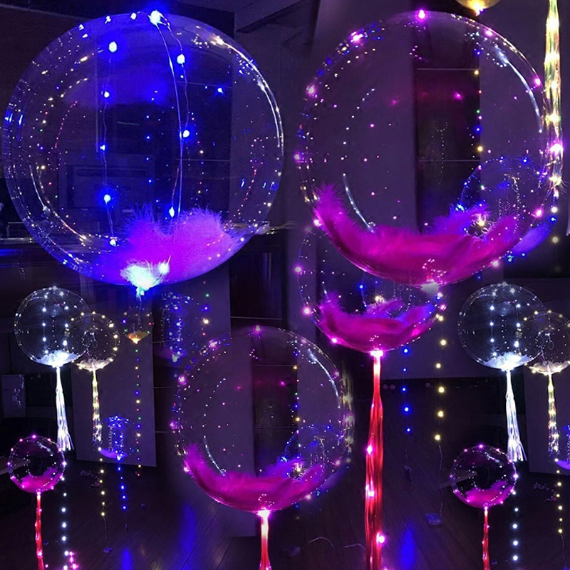 18/24 Inch Luminous Led Balloon 3M LED Air Balloon String Lights Round Bubble Helium Balloons Wedding Party Decoration