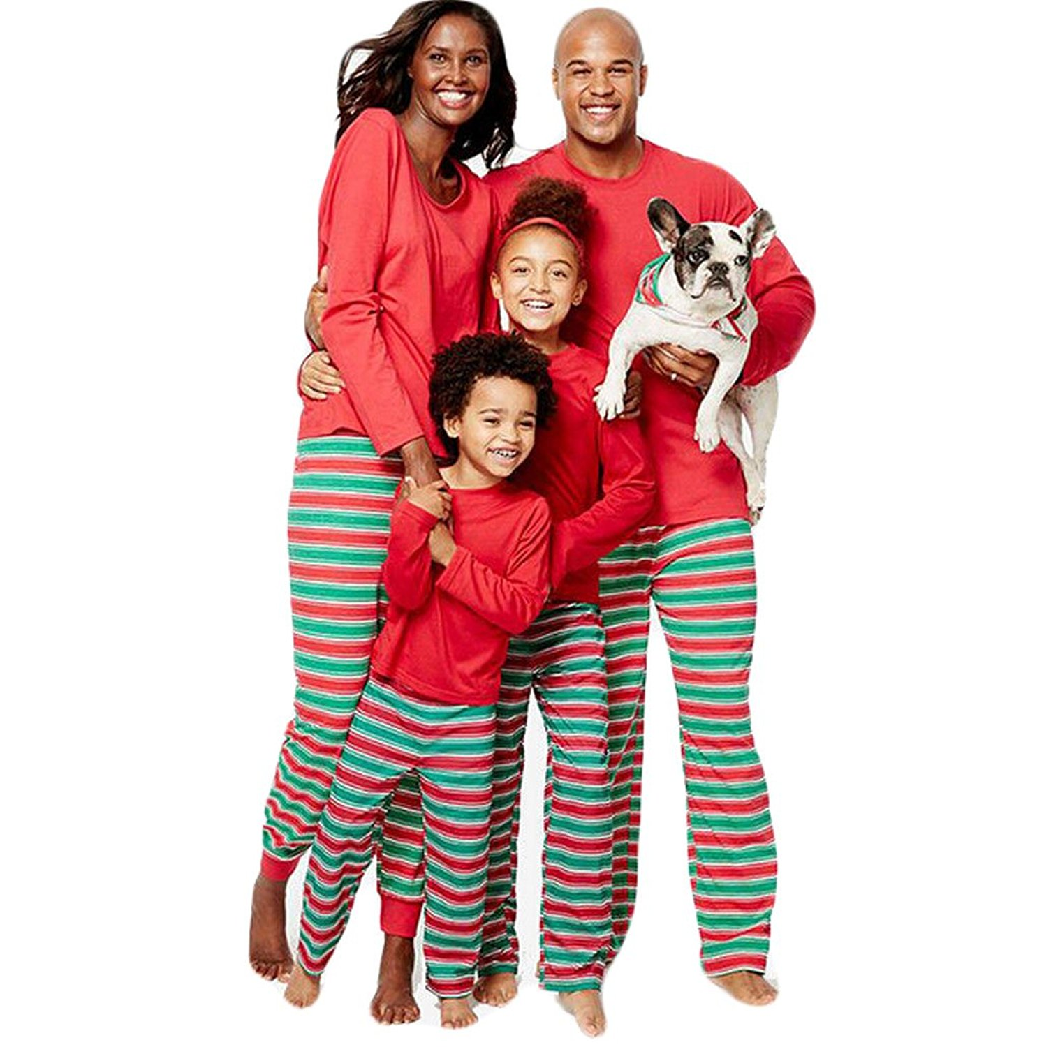 01d6ec0a65f2 Get Quotations · ZADANA Family Matching Christmas Pajamas Sets for Family  Red and Green Striped Pajamas