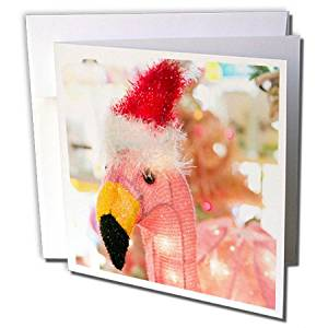 Danita Delimont - Christmas - Antique Pink Flamingo with Santa hat, Palm Springs, California, USA. - 6 Greeting Cards with envelopes (gc_230143_1)