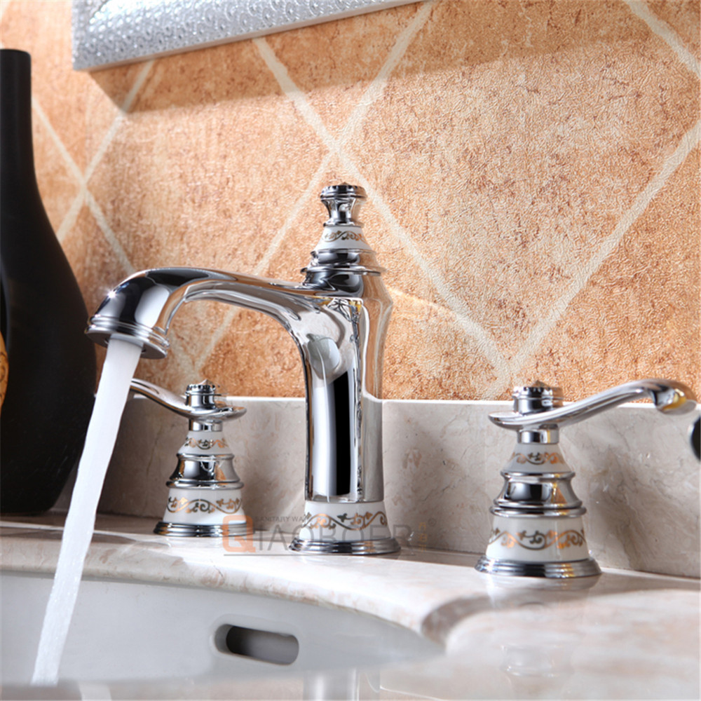 Wholesale price chrome brass 3-hole bathroom lavatory faucet on sale