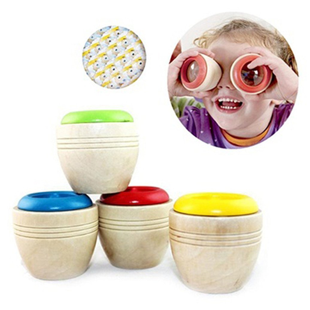 1Pc Magic Bee Eye Effect Prism Toy Wooden Educational Kaleidoscope Baby Children Learning Puzzle Sensory Toy Gift (Color Random)