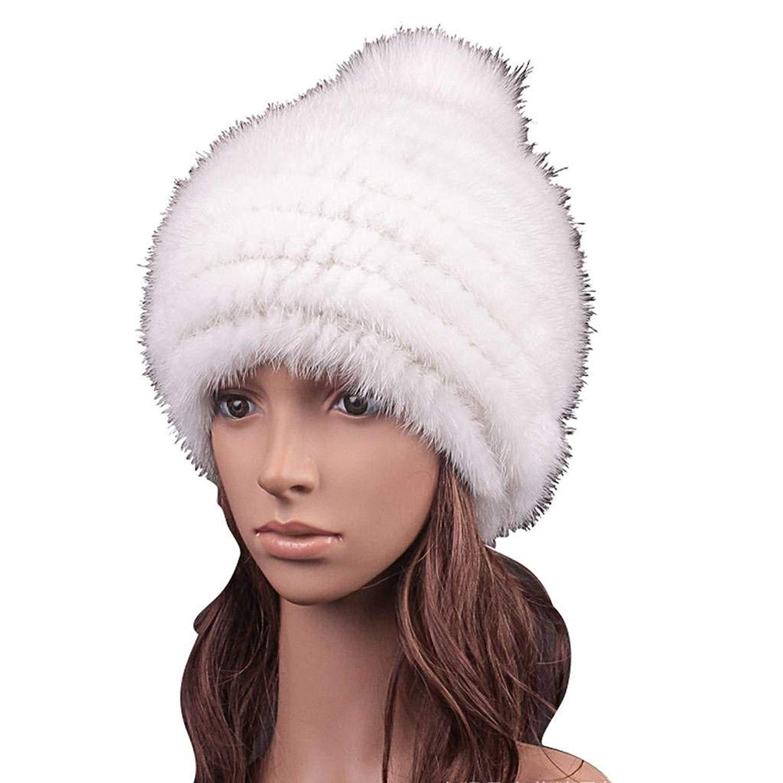 9db3f06837901 Get Quotations · Fox Fur Ball + Mink Fur Hat ¨C Womens Winter Pompom Knit  Fashion Hats Warm