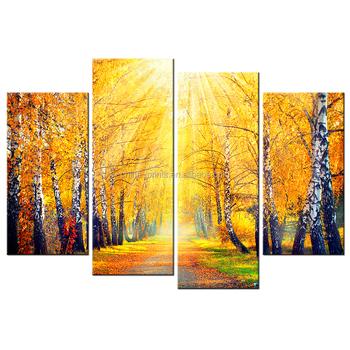 4 Pieces Golden Tree Canvas Art Prints Nature Forest Landscape Photo ...
