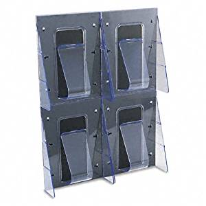 deflect-o : Stand Tall Four-Pocket Unbreakable Plastic Magazine Display Rack, Black/Clear -:- Sold as 2 Packs of - 1 - / - Total of 2 Each