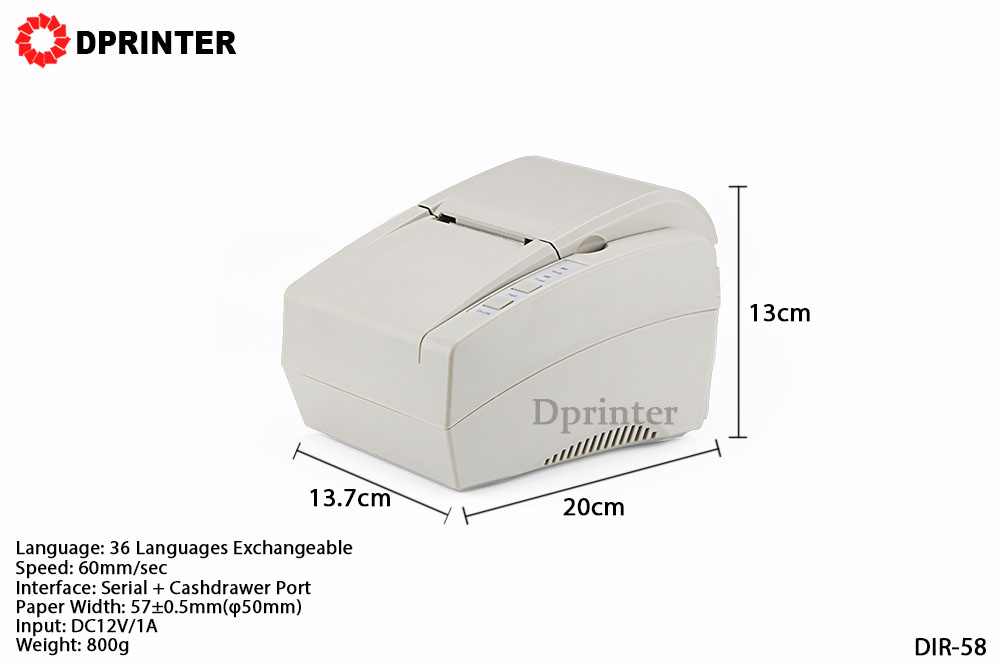 Dprinter 58mm White Serial + Cashdrawer Desktop Thermal Receipt Printer POS Printer