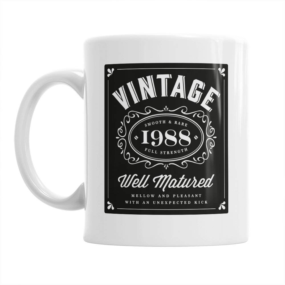 30th Birthday Gift Gifts For Men Women 1988 Vintage Bourbon Coffee Mug