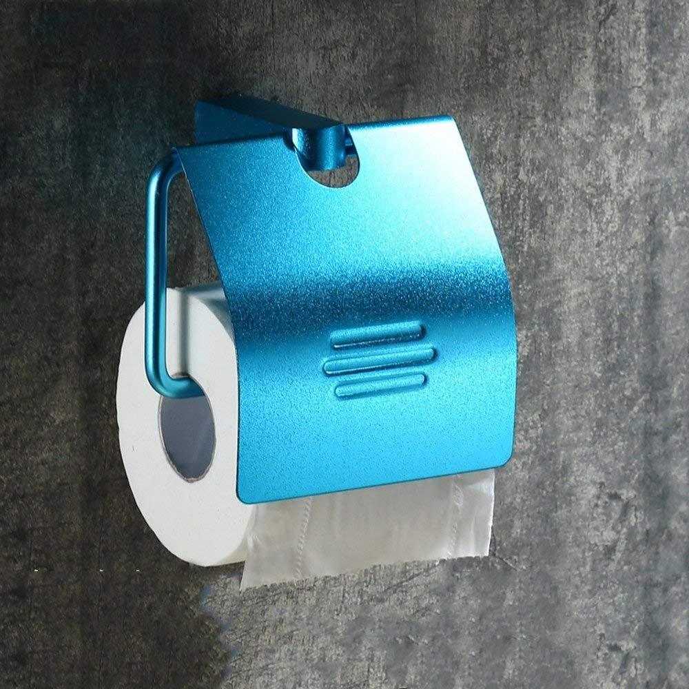 ZHAS Color space aluminum reel Toilet paper towel rack European carton retro paper towel rack,blue
