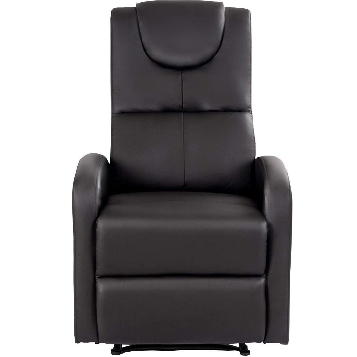 GHP 330-Lbs Capacity Black Waterproof Leather Push-Back Recliner Chair with Footrest