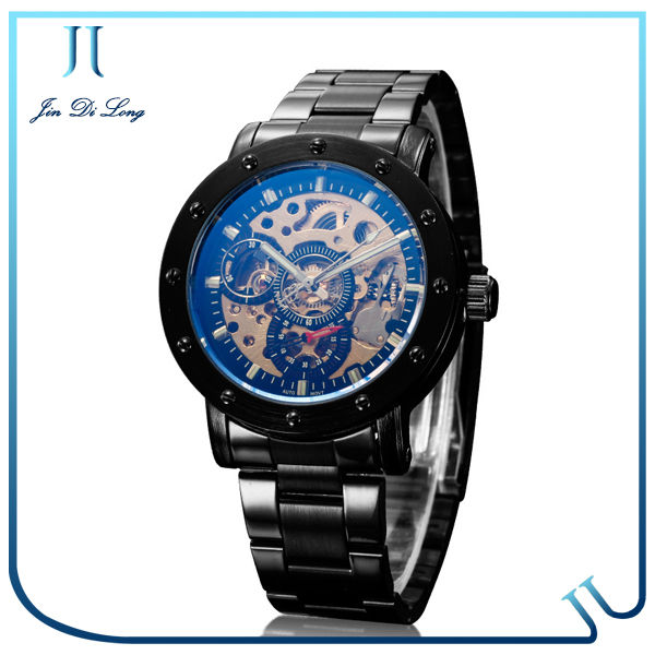 Best selling high quality stainless steel fashion 3D transparent skeleton design men's watch