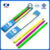 OEM color 3pcs high quality fluorescent black color pencil in color box