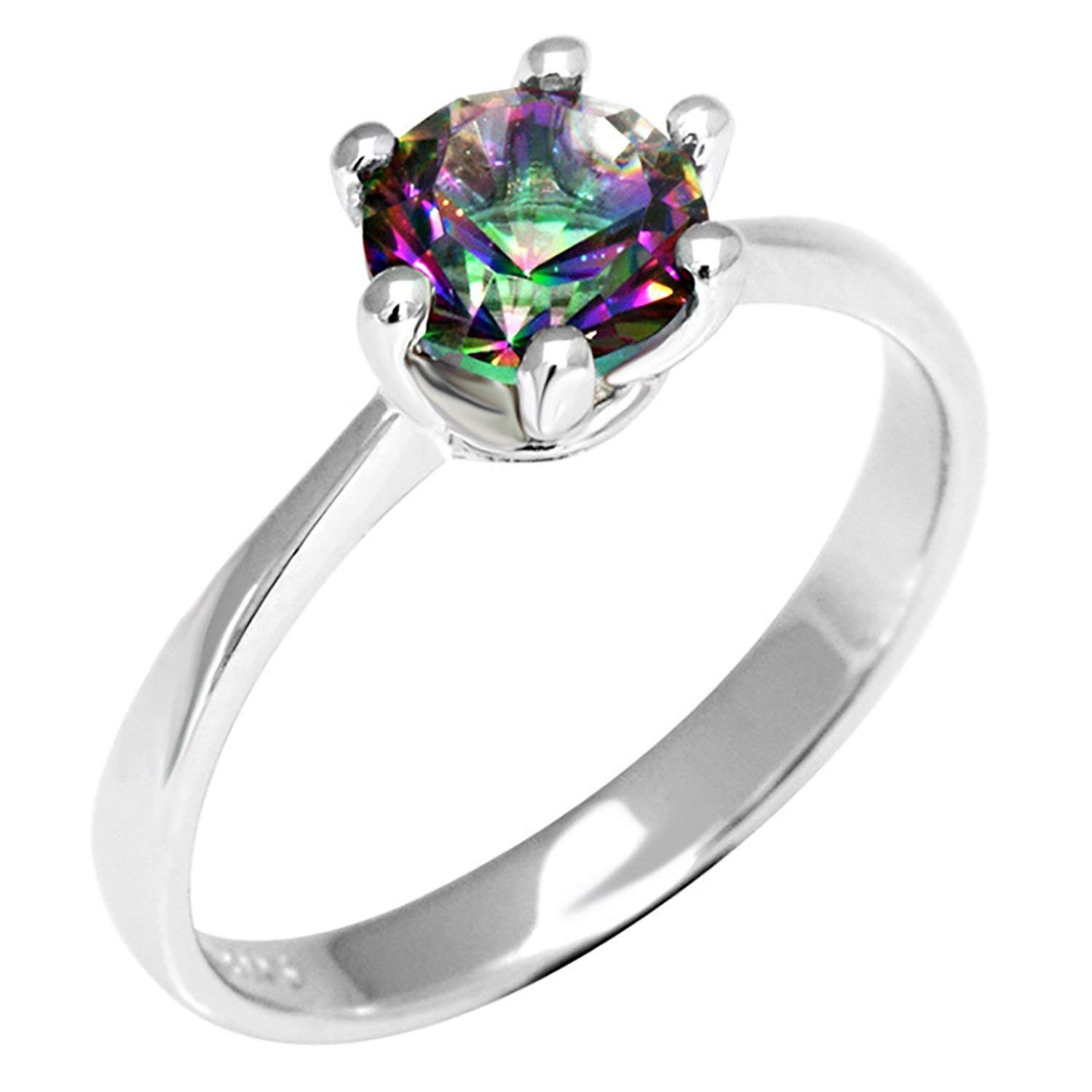 AYT Natural Mystic Fire Rainbow Topaz Ring Engagement Wedding Ring Solid 925 Sterling Jewelry Fine Jewelry Women Ring Classic