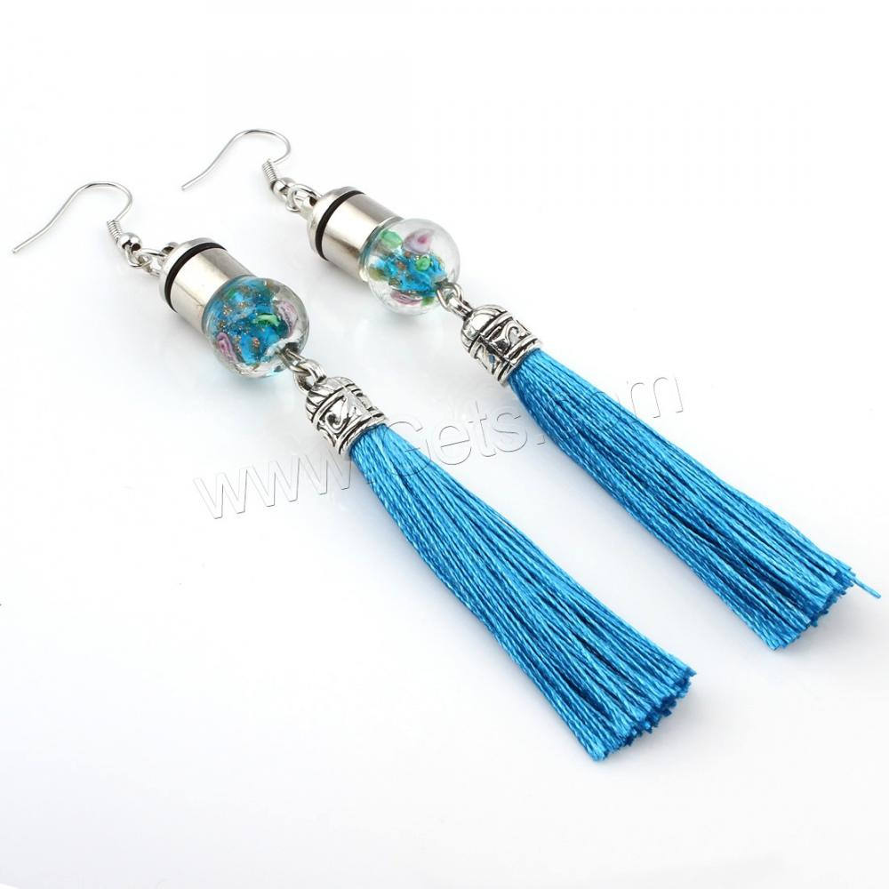 Artilady thread jewelry green silver beautiful designed lasted tassel bridal earring designs