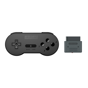 Black Wireless SN30 Retro Set For Super Nintendo Bluetooth Joystick with Adapter