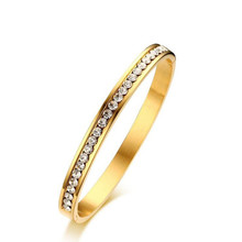 2 Colors 6MM Width Snap Stainless Steel Bangle CZ Diamond