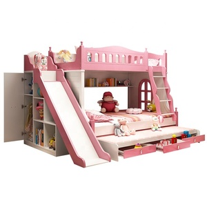 2019 Pink cartoon functional solid wood Kids Bedroom Furniture New Wooden Sepa bunk bed for children