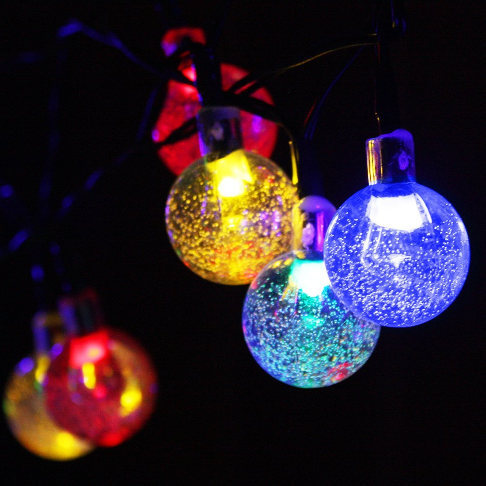 get quotations megavision solar powered globe string lights 20ft 6m 2 light model 30 led bubble