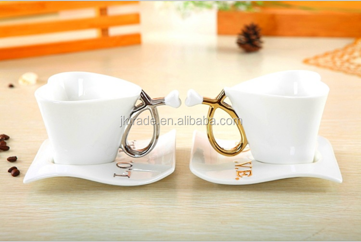 Promotional valentine gift porcelain heart shape coffee cup and saucer set for couples