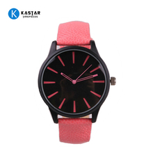 Big face leather band strap pink watch for women