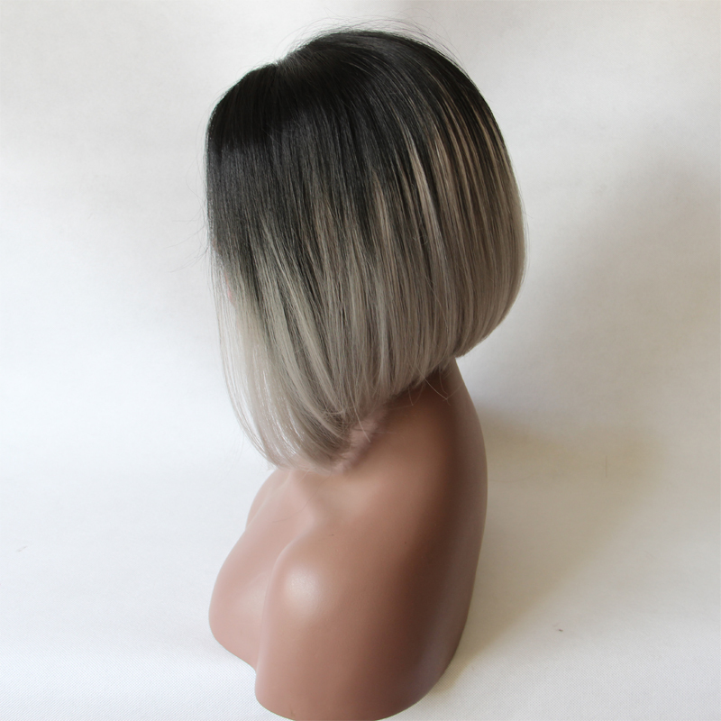 Fashion Grey Lace Front Wig Ombre Natural Black Silver Short Bob Hair Wigs Soft And Smooth Full
