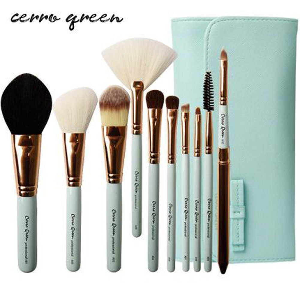 CERROQREEN 10pcs Makeup Brushes Cosmetic Brush Set pony hair goat hair leather traverl pouch bag case (Green)
