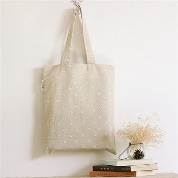 Floral Cotton Long Strap Canvas Tote Bag Shopping Bags Custom ...