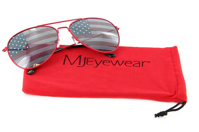 1ba7bf1e9e0 Get Quotations · MJ Eyewear Patriotic Aviator Sunglasses American Flag Lens
