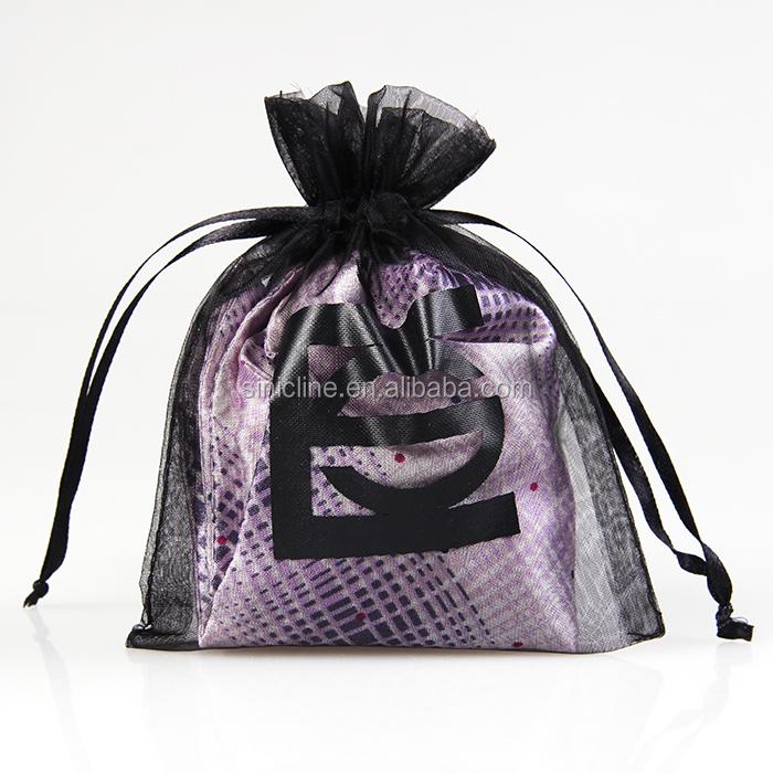 Sinicline personnalisé sacs en organza noir cadeau sac à cordon avec logo imprimé