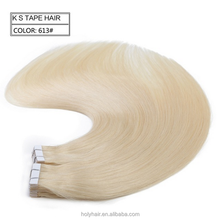 Wholesale factory price unprocessed 10A remy brazilian human tape hair extension,color 60,613#