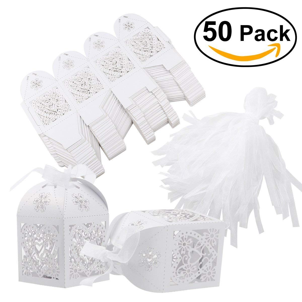 Tinksky 50pcs Wedding Favor Candy Boxes Hollow Style Gift Boxes with Ribbons(White)