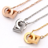 Rose gold plated stainless steel square round pendant necklace women collier, fashion chocker necklace jewelry bijoux femme